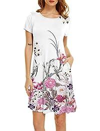 WanYangg Mujeres Vestido De Camiseta Túnica T-Shirt Vestidos Cuello Redondo Vestido De Verano para