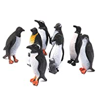 DOXMAL Set of 8 Model Plastic Animal Penguin Figure Toy Penguins Models Bulk Bag Penguin Toy Set Realistic Hand Painted Toy Penguins Figurine- Black + White