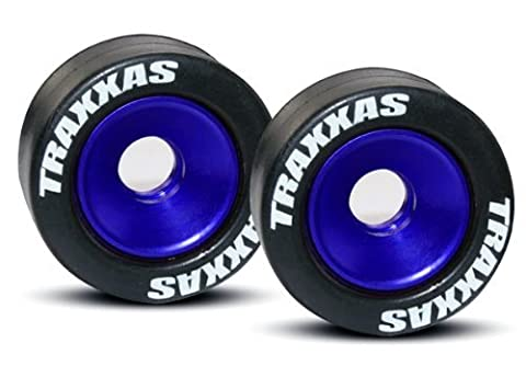 Traxxas 5186A Rubber Tires Mounted on Blue-Anodized Aluminum Wheelie Bar Wheels (pair)