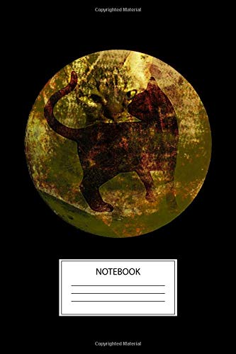 Cat Notebook: Cool Blank Lined Cat in the Moon Gold and Black Notebook - Cat Lovers Journal (Awesome Halloween Party Favors)
