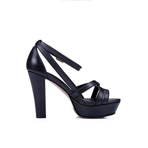 W&LM Signorina Tacchi alti Piede punta sandali pelle Cucitura di modelli geometrici Tacchi alti Bocca di pesce sandali Black