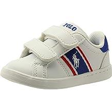 Polo Ralph Lauren Quigley EZ Blanco/Real/Rojo Suave Bebé Zapatillas De Deporte Zapatos