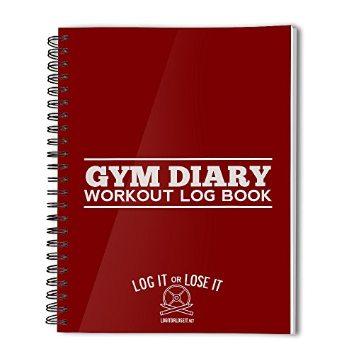 Gym Diary - pocket log book with tough, clear plastic covers… (Red)