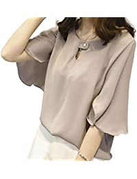 R¨¹schen Chiffon Bluse Shirt Frauen Sommer Tops T-Shirt Sexy Hollow Out Bluse Plus Size