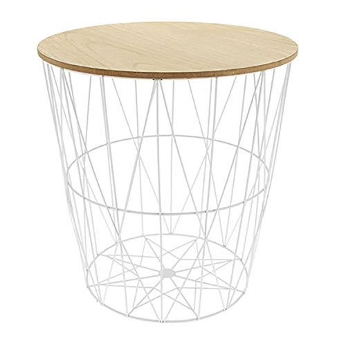 Beistelltisch mit abnehmbarem Holzdeckel Couchtisch Dekotisch Sofatisch Blumentisch Metall Ø40xH40cm