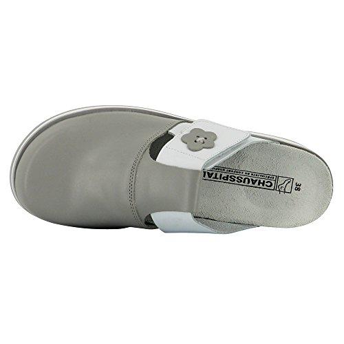 Chaussure infirmière intégralement en Cuir Blanc et Ciel Première en liège semelle micro Blanc avec gomme antidérapante Blanc et Gris