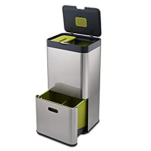 Joseph Joseph Intelligent Waste Totem Bin Separation and Recycling Unit, Includes 4 Litre Waste Caddy Stainless Steel 60 Litre
