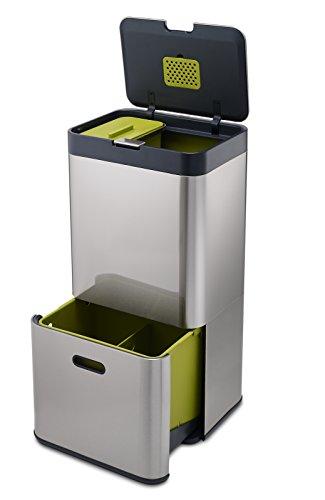Joseph Joseph Totem 60 L - Cubo de basura, separación y reciclaje color Acero inoxidable (Stainless Steal)