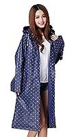 Rain Mac, Reuseable Womens Girls Portable Fashion Polka Dot Long Raincoat with Long Sleeves Travel Reuseable Showerproof Rain Jacket Mac
