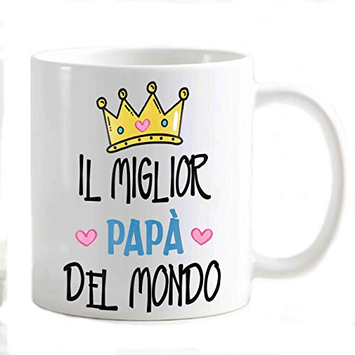 csm Informatica Tazza Mug Colazione Idea Regalo per Festa del papà 19 Marzo Personalizzabile Il papà Migliore del Mondo Corona Cuore