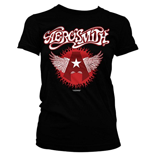 Aerosmith Flying A Logo Official Women T-Shirt (Black), Medium (T-shirt Damen Aerosmith)