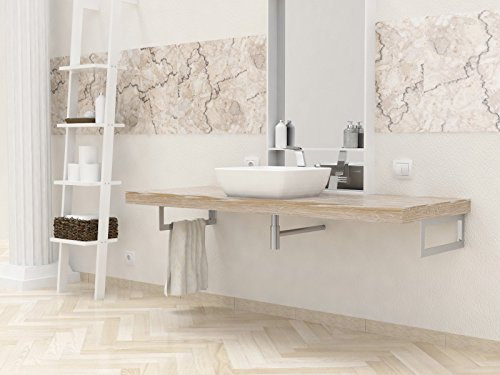 Ve.ca-italy mensola lavabo su misura in legno massello prodondita' 50 cm - spessore 6 cm, in 4 colorazioni + kit reggimensola 100% made in italy (da 161 a 180 cm, frassino shabby)