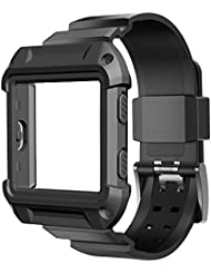 """Fitbit Blaze Bands Leather with Frame Small Large (5""""-8.2""""), amBand Genuine Leather Replacement Band with Silver/Rose Gold/Black Metal Frame for Fitbit Blaze Women Men, Black, Brown, White, Pink, Blue"""