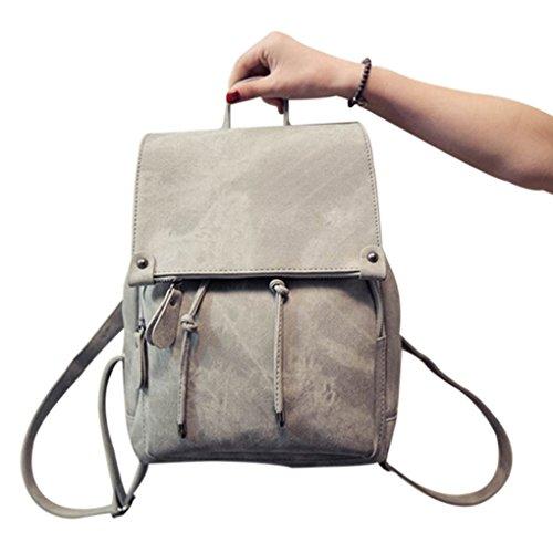 Arichtop Frauen-Mädchen-Kordelzug Reißverschluss Vordertasche Rucksack-Rucksack-Schule-Beutel PU-beiläufige Travel Schultertasche Handtasche (Kleider Mädchen Kleine Suchen)