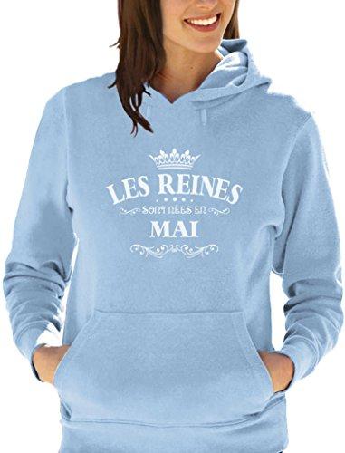 Les reines sont nées en Mai - Anniversaire Sweatshirt Capuche Femme Bleu ciel