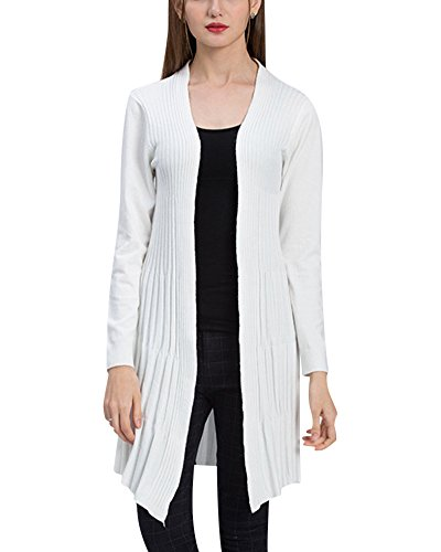 Long Gilet Femmes Cardigan Manches Longues Tricot Chandail Pull Haut Blanc