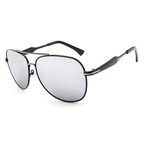 WARM home Wunderschönen Mode Beste Männer Flieger Polarisierte Sonnenbrille Bunte Linse Cool Eyewear Retro Oculos De Sol Mit Fall Geschenk (Color : Silver)