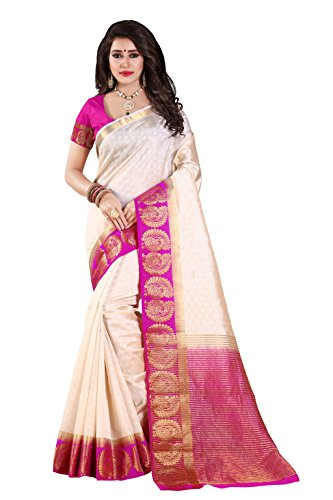 Nirja Creation Cotton Silk Saree (NC-OD-MOR-01_White_Free Size)