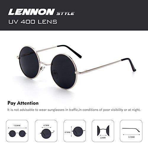 CGID E01 Petites lunettes de soleil polarisées inspirées du style retro vintage Lennon en cercle métallique rond 9fr3H