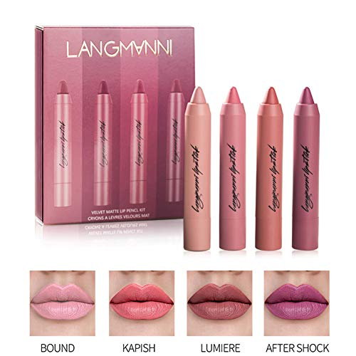 BOBORA 4pcs Matte Lippenstift Set Wasserdicht wischfest Durable Velvet Lipstick Kit Vivid Lip Set...