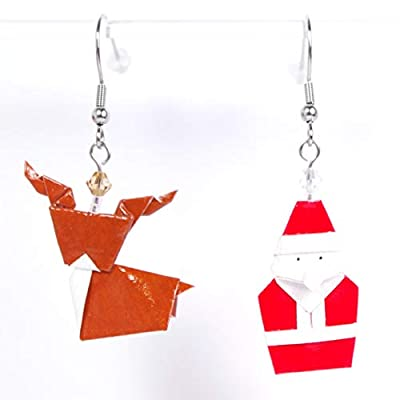 Boucles d'oreilles Père Noël et son renne en origami - crochets inox