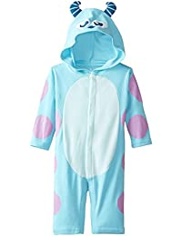 Disney Baby-Boys Newborn Long Sleeve Sully Hooded Coverall, Blue, 3-6 Months