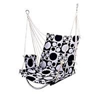 DRHYSFSA-Home Hanging Chair Hammock Chair Hanging Rope Quilted Patio Cushion Seat Indoor/Outdoor Swing Chair (Black) Relaxing Outdoor Garden Seat (Color : Black, Size : 46x55x62CM)
