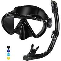 Glymnis Set Snorkeling Maschera Snorkeling Anti-Appannamento Kit Snorkeling Panoramica a 180° con Tubo di Respirazione a Secco Completo e Boccaglio Perfetto per Adulti e Adolescente