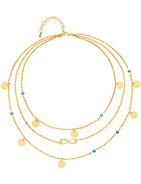 Front Row Gold Colour Multi-layer Necklace with Charms of Length 41-46cm