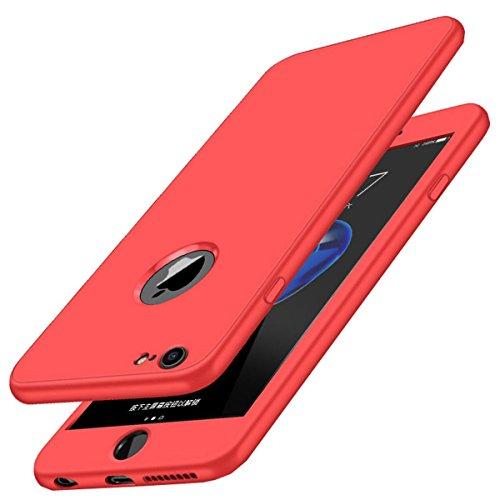 Carcasa iPhone 7, Qissy® 360 Todo incluido TPU Silicona Flexible Anti-Scratch Anti-huella dactilar a prueba de choque Suave Protective Case Cover Skin para iPhone 7 4.7'' (Rojo)