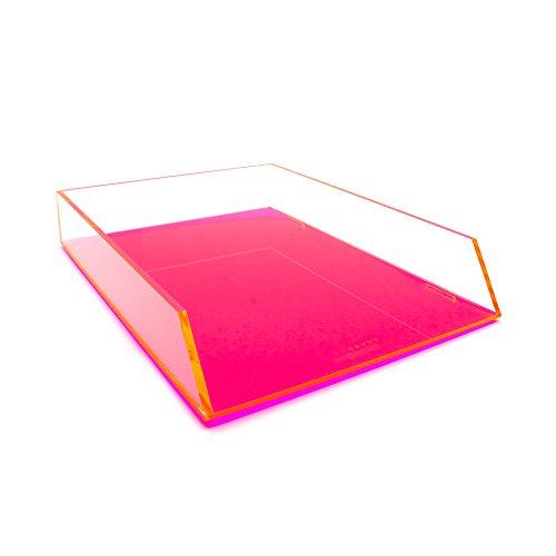 Brief-fach Klar (Single Pink Acryl Kunststoff Stapeln, Ablagekorb Schreibtisch Tidy Organizer für A4Buchstaben und Dokument Halter)