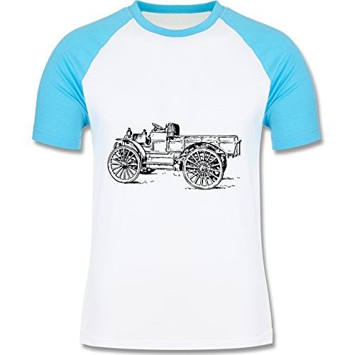 Landwirt - Traktor alt Planwagen - zweifarbiges Baseballshirt für Männer Weiß/Türkis