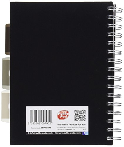 A5 perforati confezione Pukka Pad Project Book PROBA5 80 g//m/² a righe 250 pagine Confezione di 3 quaderni spiralati per progetti colori assortiti 1 copertina in plastica 3 divisori