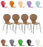 CLP 4X Stapelstuhl Diego l Ergonomisch geformter Konferenzstuhl mit Holzsitz und...
