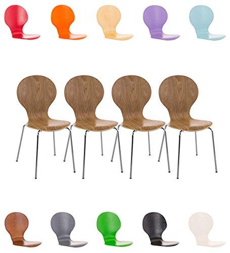 CLP 4x Stapelstuhl DIEGO ergonomisch geformter Konferenzstuhl mit Holzsitz und stabilem...