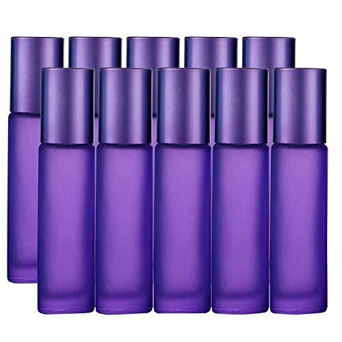 JamHooDirect, 10 ml ätherische Öle, leer, nachfüllbar, buntes Milchglas, Rolle auf Flaschen mit 1 Öffner und 1 Tropfen, perfekt für Aromatherapie, Duft, Parfüm, Violett -