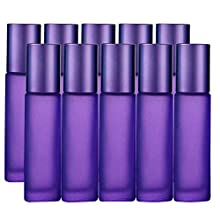 10Pcs, 10ml Essential Oils Roller Bottles, JamHooDirect Empty Refillable Colorful Frosted Glass Roll on Bottles with 1 Opener & 1 Dropper, Perfect for Aromatherapy, Fragrance, Perfume (Purple Color)