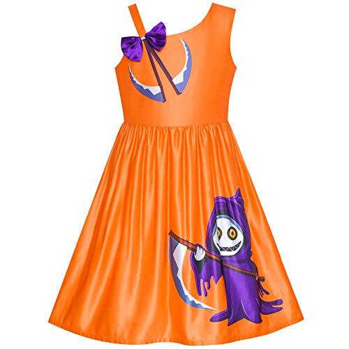 Mädchen Kleid Halloween Geist Sichel Witch EIN Schulter Kostüm Gr. ()