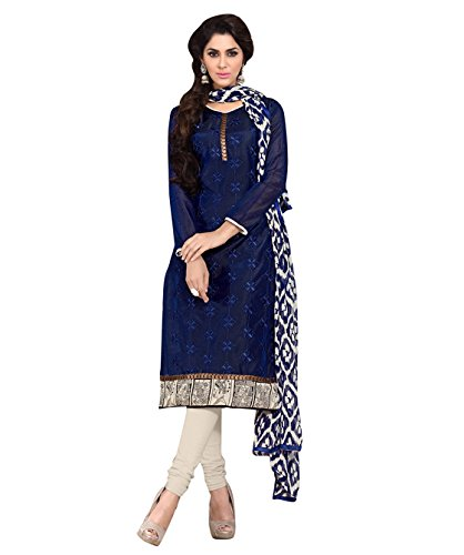 WomenS-Chanderi-Unstitched-Salwar-Suits-Dress-Material-BlueFree-Size5AKS9007