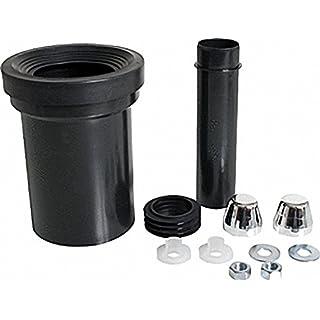 HAAS WC-Anschlussgarnitur mit Abflußrohr 90mm mit verchromten Kappen
