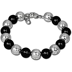 Amello bijoux en acier inoxydable - Amello bracelet en céramique boules noir - bracelet en acier inoxydable pour femmes - ESAX12S