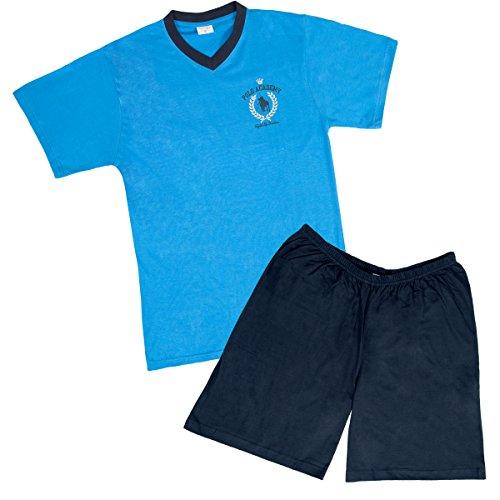 Herren-Schlafanzug,Shorty,100% Baumwolle Blau/Marine