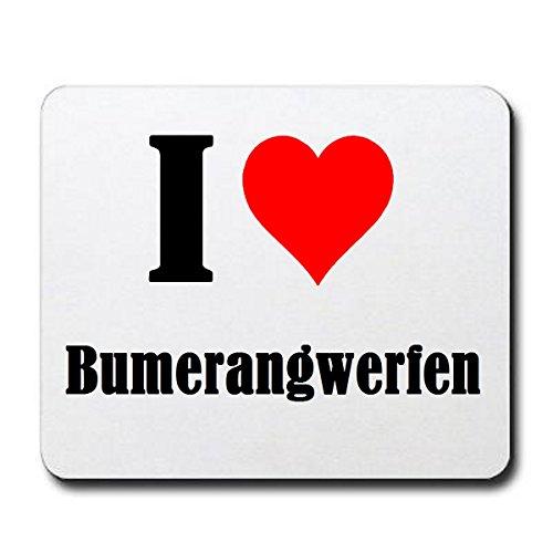 """Exklusive Geschenkidee: Mauspad """"I Love Bumerangwerfen"""" in Weiss, eine tolle Geschenkidee die von Herzen kommt- Rutschfestes Mousepad- Weihnachts Geschenktipp"""