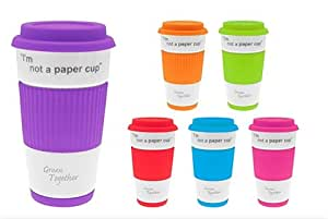 I'm Not A Paper Cup, Ceramic Travel Mug Silicon Lid & Wrap -1 x Colour Random Basis