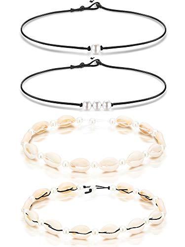Einzelne Perle Halsband Halskette 3 Perle Halskette Einzelner Edelstein/Türkis Halsband und Blau Türkis Halskette auf Leder Band für Damen Mädchen (Perle und (Einfache Mutter Tochter Kostüme)