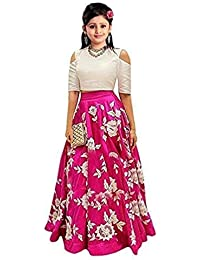 Vihat Fashion Girl's Cotton Silk Semi-Stitched Lehenga Choli (Pink_8-12 Years_Free Size)