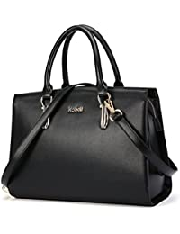 Kadell Women Leather Handbags Vintage Tote Satchel Shoulder Bag Top Handle Purse Black