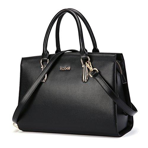 Kadell Frauen Leder Handtaschen Vintage Tote Satchel Schultertasche Top Griff Geldbörse Schwarz (Leder Handtasche Damen Tote)