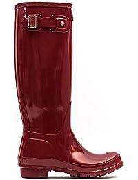 Hunter Original Tall ciruela Damascena brillante para mujer botas de agua