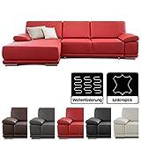 CAVADORE Eckcouch Corianne / Sofa L-Form in Lederoptik und modernem Design / Inkl. beidseitiger Armteilverstellung und Longchair links / 282 x 80 x 162  / Kunstleder rot